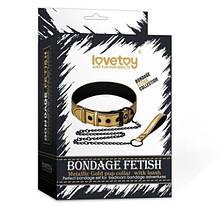 Золотичный нашийник Bondage Fetish Metallic Gold Pup Collar With Leash