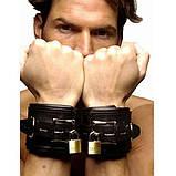 Черные кожаные наручники, фото 2