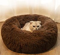 Лежак-лежанка для собак и котов диаметр 50 см спальные места для домашних животных коричневое