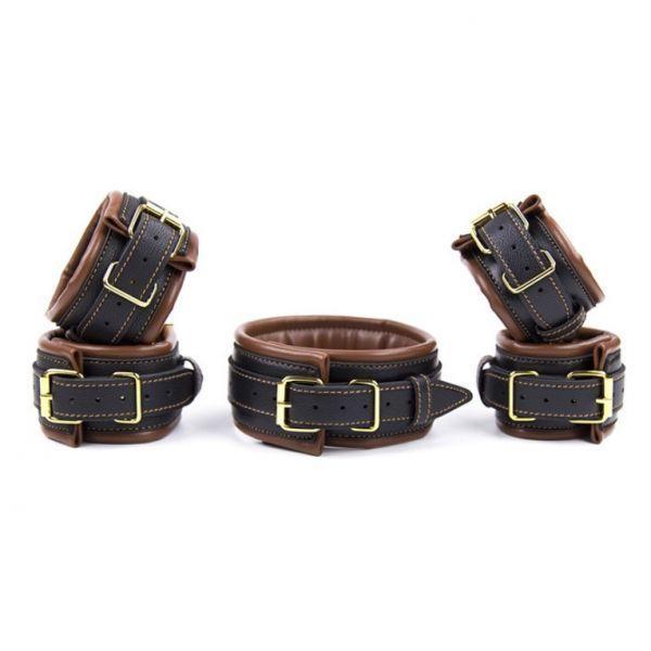 Leather 5 Pieces Restraints Set Hand Neck Foot Handcuffs Brown + Black