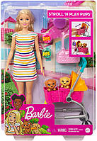 Кукла Барби Прогулка со щенками - Barbie Stroll n Play Pups Playset with Blonde Doll