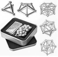 Магнитный конструктор с палочками Неокуб серебро магнитные шарикиNeo серебренный нео куб антистресс.