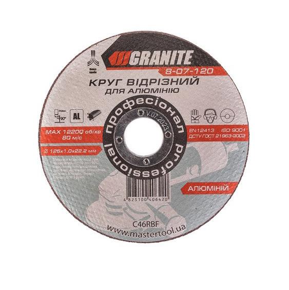Диск абразивний відрізний для алюмінію 125х1,0х22,2 мм GRANITE (8-07-120)
