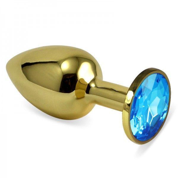 Гладка анальна пробка золотистого кольору з голубим кришталем розмір S + подарункова упаковка