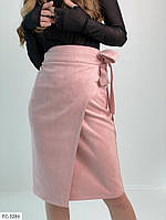 Красивая женская юбка на запах замшевая по колено р-ры 42-48 арт.   686