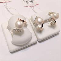 Срібний жіночий комплект з золотом і перлами Лола, фото 1