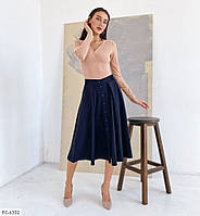 Стильная женская юбка клеш за колено с поясом р-ры 42-48 арт. 1063
