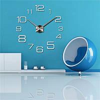 Настенные 3D часы большие от 70 до 150 см цвет серебро (8516-001)