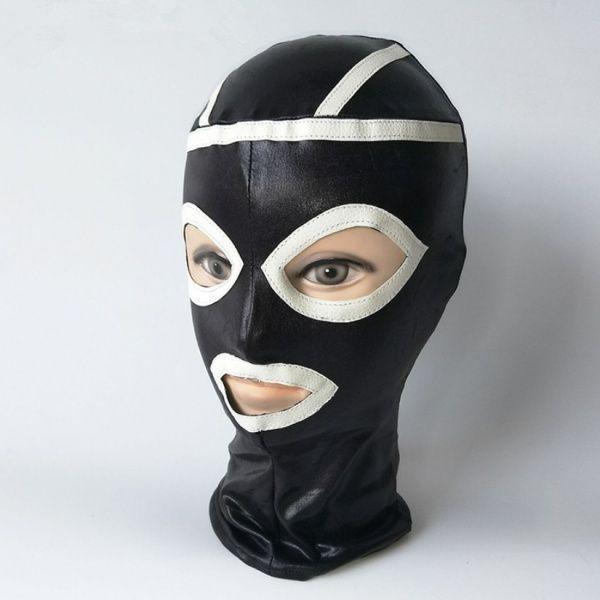 Чорна вінілова маска з білими вставками