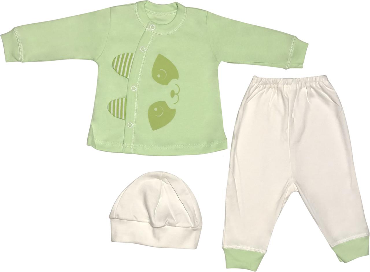Костюм для новорожденных малышей рост 62 2-3 мес на мальчика девочку комплект детский трикотажный салатовый