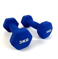 Гантелі для фітнеса 3 кг. x 2 шт., метал з вініловим покриттям (сині)