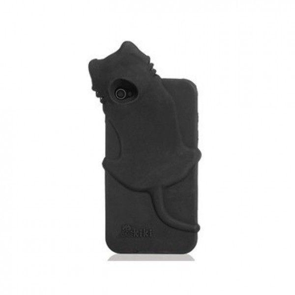 РОЗПРОДАЖ! KuKu Cat Design Rubber Open-face Case for iPhone 4/4S (Black)