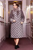 Зимнее женское пальто из шерстяной ткани с воротником из натурального меха Найдира р.50-62