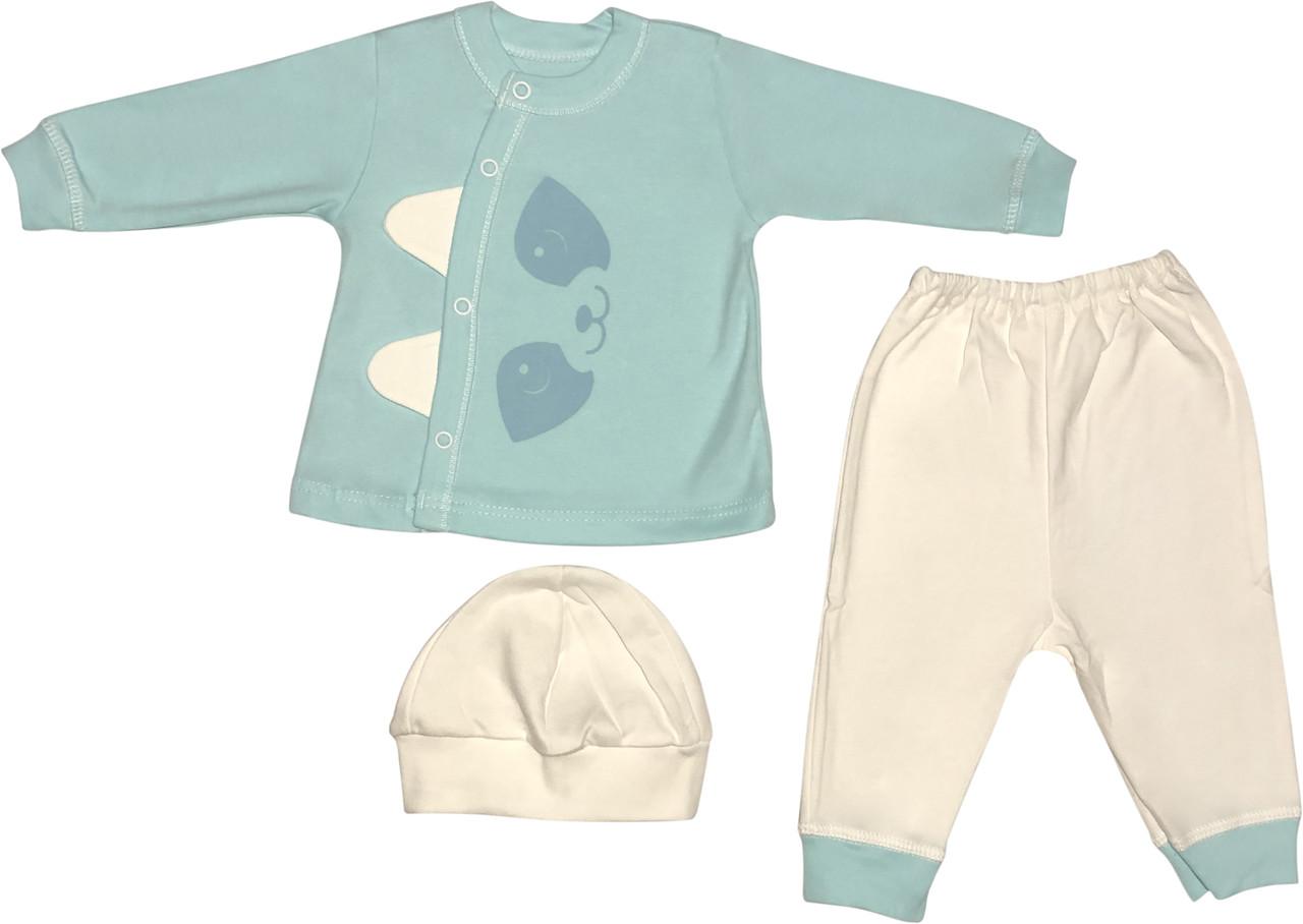 Костюм для новонароджених малюків ріст 68 3-6 міс на хлопчика дівчинку комплект дитячий трикотажний бірюзовий