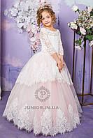 """Ошатне святкове плаття з мереживом для дівчинки """"Єва"""" (пудра), фото 1"""