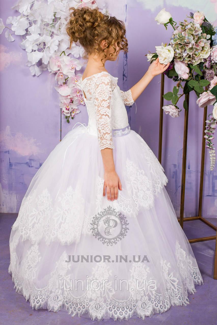 """Нарядное праздничное платье с кружевом  для девочки """"Ева"""" (сирень)"""