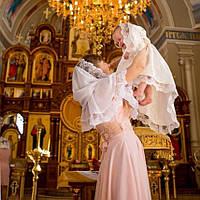 """Палантин жіночий """"Світлинка"""" Шифон Молочний"""