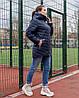 Жіноча стьобана весняна куртка на синтепоні і на змійці, з капюшоном, батал великі розміри, фото 6