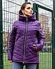 Жіноча стьобана весняна куртка на синтепоні і на змійці, з капюшоном, батал великі розміри, фото 7