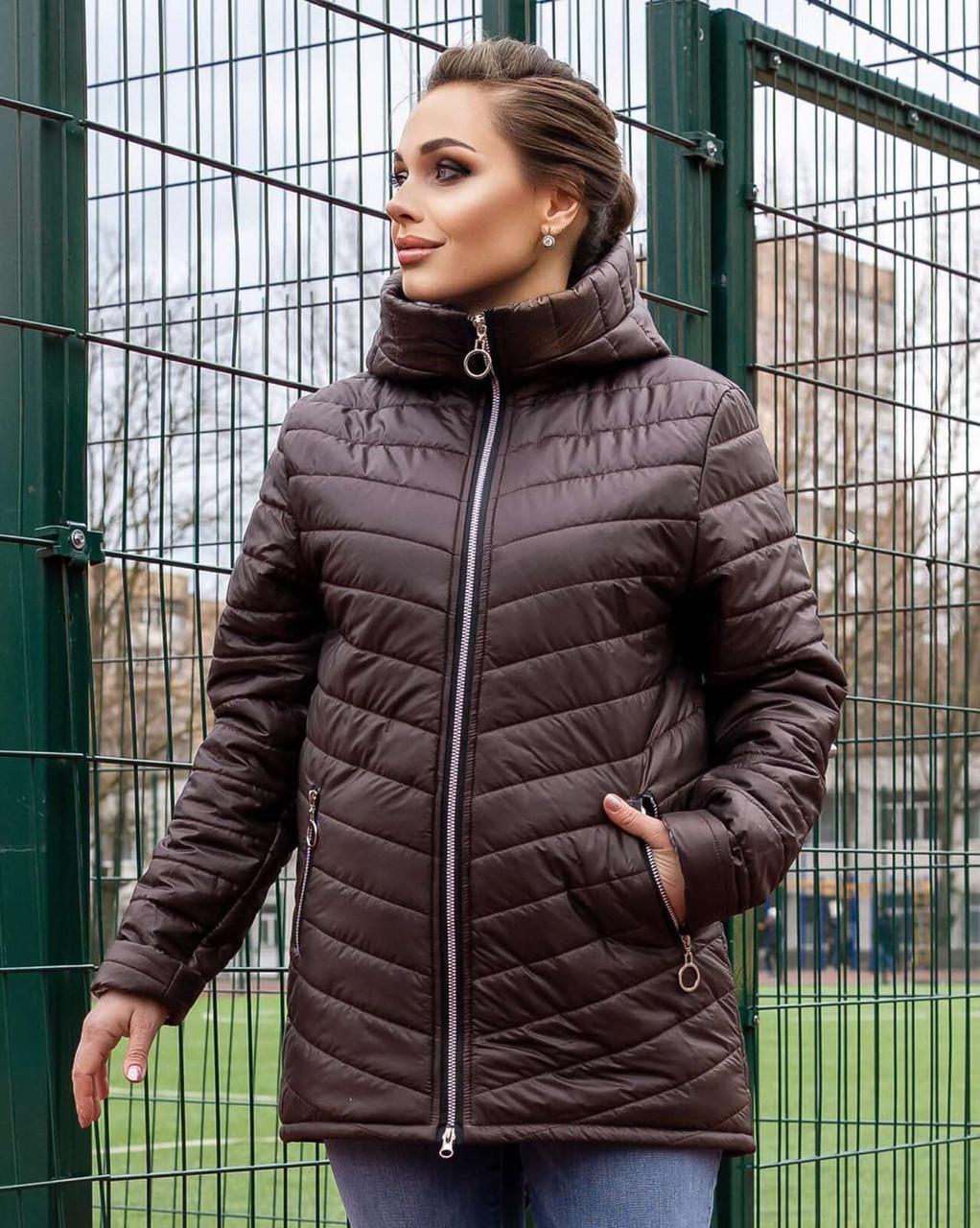Жіноча стьобана весняна куртка на синтепоні і на змійці, з капюшоном, батал великі розміри