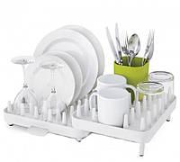 Сушилка для посуды с водостоком 3 отделения Connect 7026 пластиковая настольная