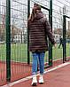 Жіноча стьобана весняна куртка на синтепоні і на змійці, з капюшоном, батал великі розміри, фото 3