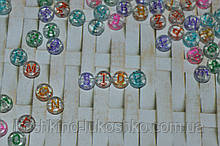 Бусина  прозрачная с глитером и цветными буквами круглая. английский алфавит