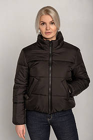 Модная куртка-плащевка женская короткая черного цвета на силиконе, размер 42, 44, 46, 48, 50