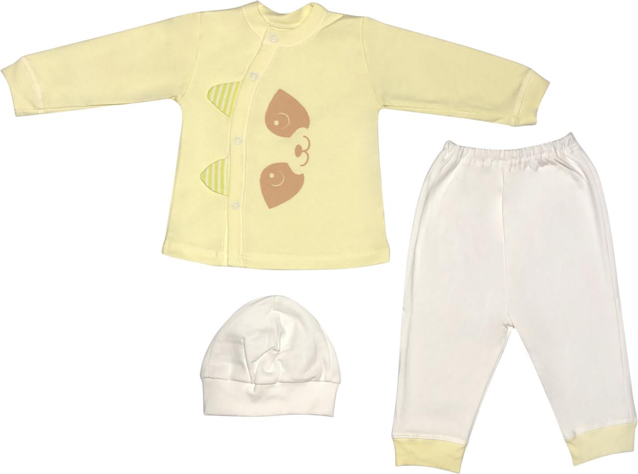 Костюм для новонароджених малюків ріст 68 3-6 міс на хлопчика дівчинку комплект дитячий трикотажний жовтий