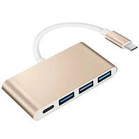 Хаб USB 3.1 TYPE-C (папа) - USB 3.0 * 3 + Type-C (мама), TRY PLUG, золотой