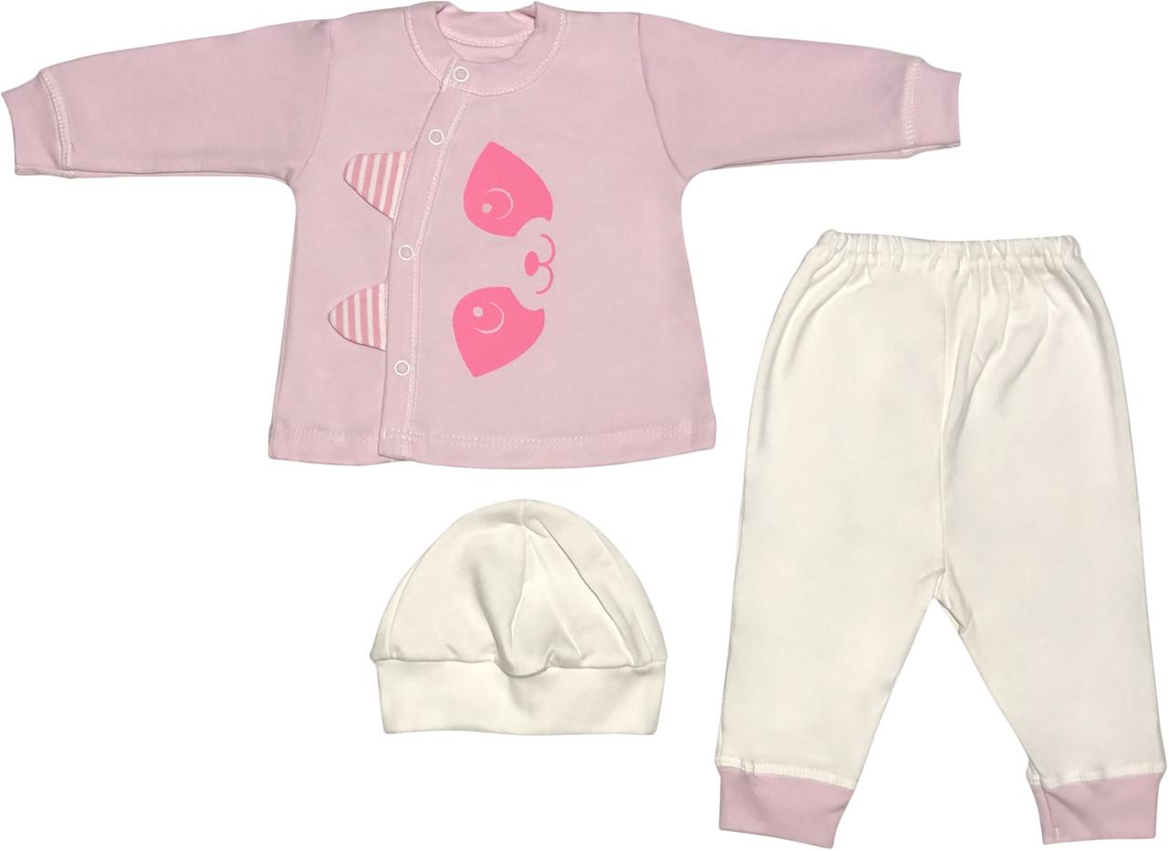 Костюм на девочку рост 56 0-2 мес для новорожденных малышей комплект детский трикотажный хлопок розовый