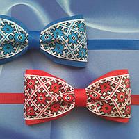 Бабочка галстук на выпускной с украинским орнаментом