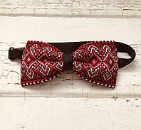 Краватка метелик з червоно-чорним орнаментом на випускний в українському стилі, фото 1