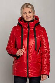 Красивая женская куртка из плащевой ткани красного цвета с высоким воротником, большие  размеры от 46 до 60