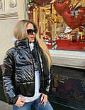 Короткая женская лаковая куртка на молнии без капюшона 3701172, фото 6