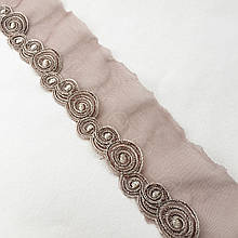 Ажурне мереживо, вишивка на сітці: коричнева і сіра нитка, сітка коричневого кольору, ширина 9 см