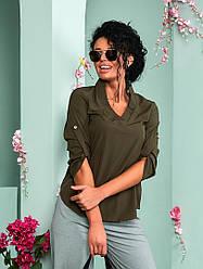 Женская стильная рубашка без пуговиц.Рукав подворачивается