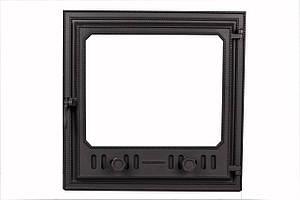 Чугунная дверца для печей и каминов со стеклом - VVK 50,5 х 50,5 см/43х43см