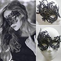 Венецианская ажурная маска черная