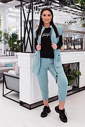 Женский костюм тройка джогеры+свитшот+жилетка размеры, 48,-50,52-54,56-58,60-62