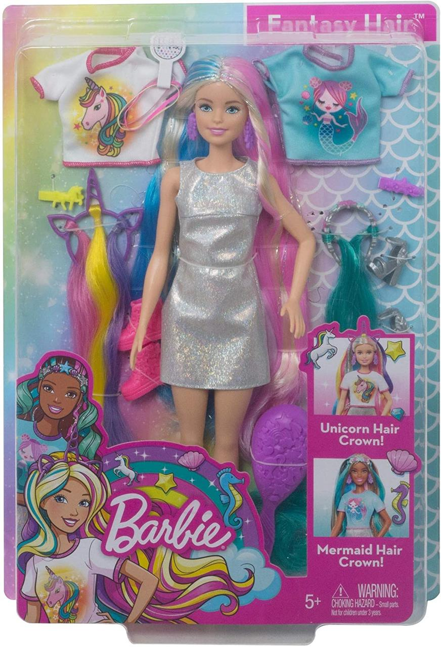 Кукла Барби Фантазийные образы Фантазия волос Русалка и Единорог Barbie Fantasy Hair Dol Blonde GHN04