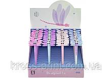 Ручка шариковая Dragonfly, гелевая синяя. 4 дизайна ассорти в цветном дисплее.