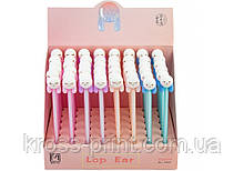 Ручка шариковая Lop ear rabbit, гелевая синяя. 4 дизайна ассорти в цветном дисплее.