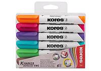 Набор маркеров для белых досок KORES 2-3 мм, 6 цветов в блистере