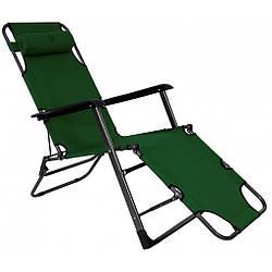 Шезлонг лежак Bonro 180 см темно-зеленый