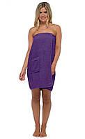 Банное полотенце на резинке с карманом. Фиолетовый