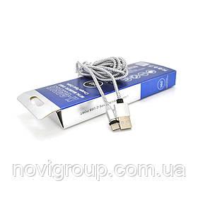 Магнітний кабель PiPo USB 2.0 /Type-C, 1m, 2А, тканинна оплетка, броньований, знімач, Silver, BOX