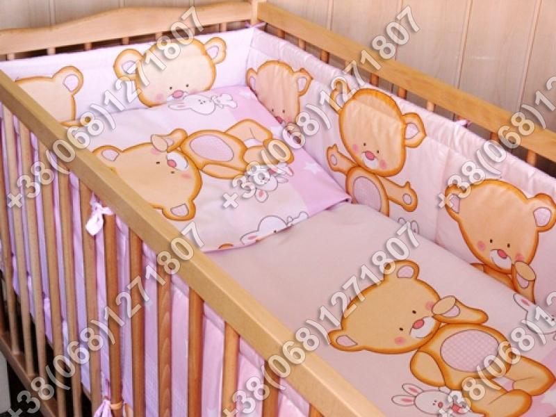Детское постельное белье в кроватку, постельный комплект (мишка розовый)
