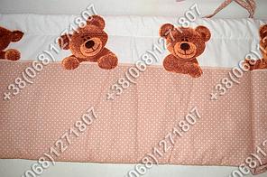 Детское постельное белье в кроватку, постельный комплект (мишка/точка бежевый), фото 3