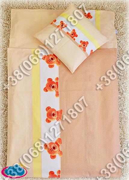 Детское постельное белье в кроватку, постельный комплект (мишка/точка бежевый)